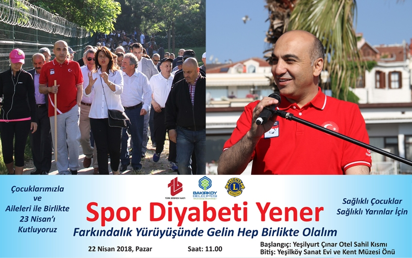 """""""SPOR DİYABETİ YENER"""" FARKINDALIK YÜRÜYÜŞÜ PAZAR GÜNÜ"""
