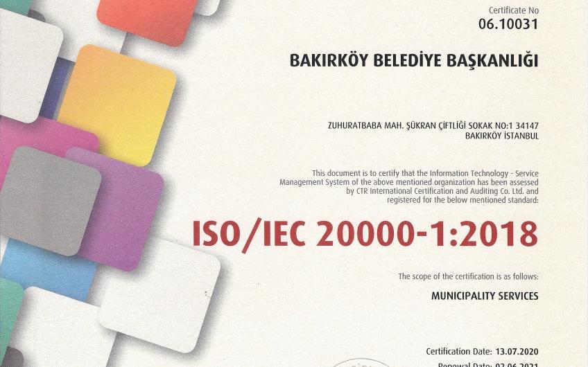 ISO 20000 Bilgi Teknolojileri Hizmet Yönetimi Sistemi Standardını belgesini Aldık