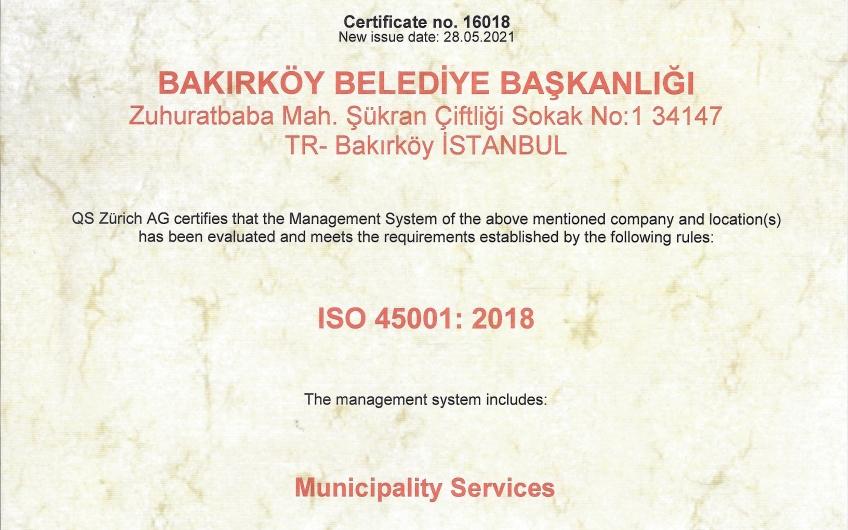 ISO 45001 İş Sağlığı ve Güvenliği Yönetim Sistemi Standardı Almaya Hak Kazandık.